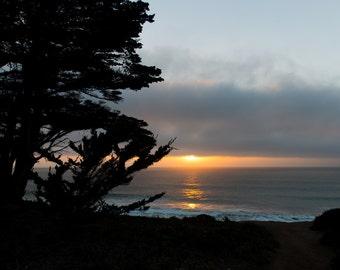 California Photography, Sunset at Half Moon Bay, San Francisco Fog Sunset, Beach Sunset, California Sunset