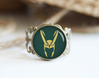 Loki superhero 25mm adjustable ring, antique silver or antique bronze, cool jewelry