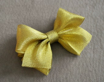 Holiday Gold Sheer Hair Bow Clip