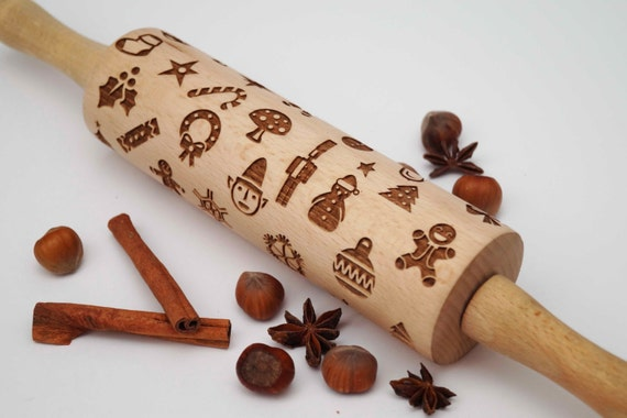 Rolling pin Christmas,Embossing rolling pin,decorating roller,birthday, Personalized, bridesmaid gift, wedding gift