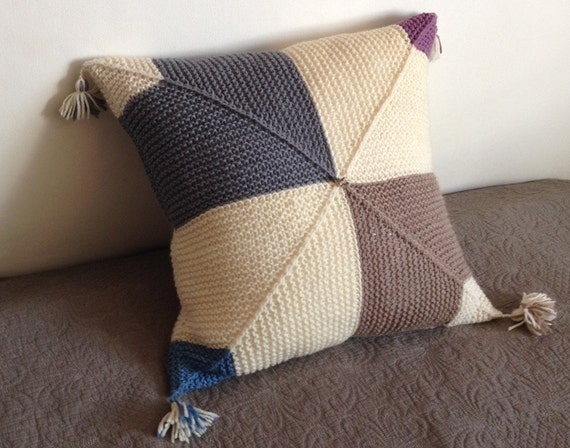 Geometric Cushion Knitting Pattern : Knitted Cushion / Pillow Cover Handmade in Geometric Pattern