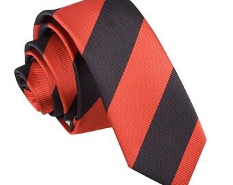 Striped Red & Black Skinny Tie