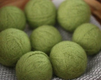 felted wool dyer balls // set of three, avocado (light green) // eco-friendly laundry