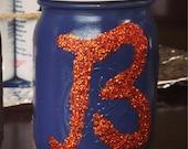 Chicago Bears Glittered Mason Jar