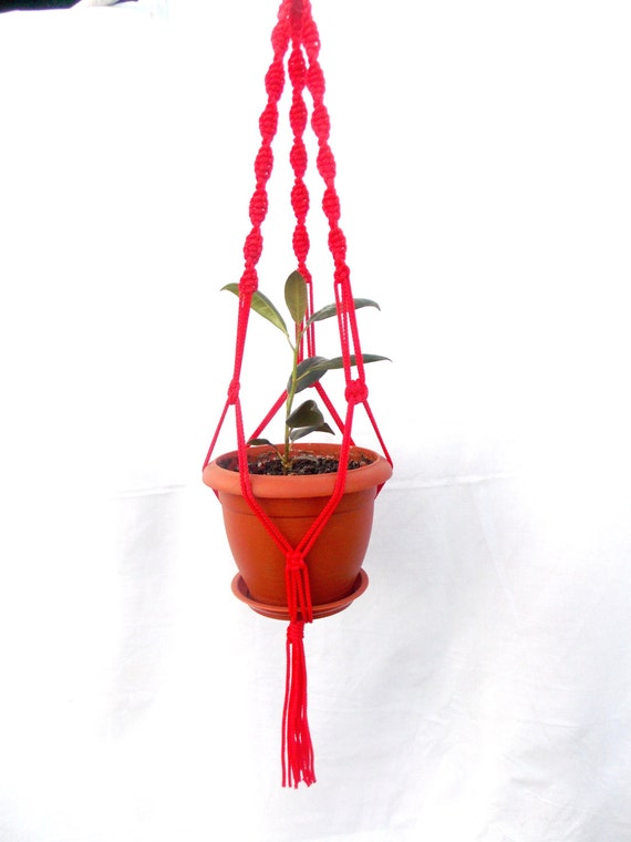 Indoor Outdoor Red Macrame Plant Pot Holder 24 Inches