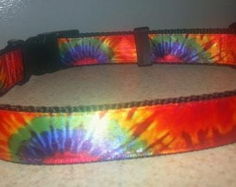 "Tie Dye Adjustable 1"" wide Dog Collar"