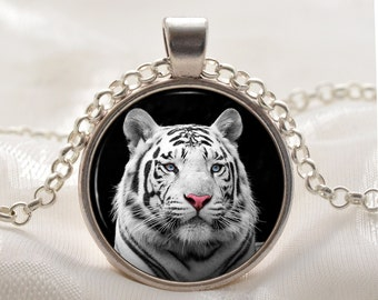 White Tiger Necklace - Tiger Pendant - Tiger Jewelry - Silver Animal Gift for Her - Photo Pendant