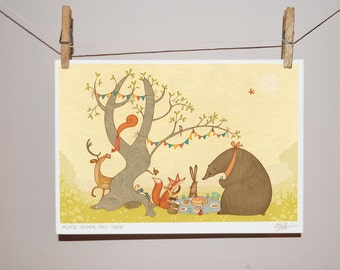 Picnic Under The Tree - Children's Illustration Print