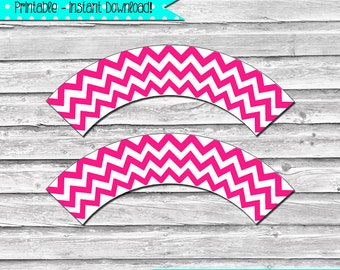 Bright Hot Pink Chevron Printable Cupcake Wrapper Set – printable party supplies – birthdays, showers, and celebrations - INSTANT DOWNLOAD