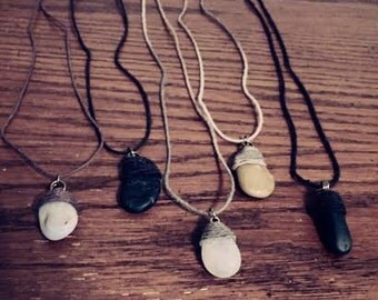 Earthy Stone Necklaces made with 100% Natural Hemp Cord.