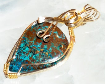 Chrysocolla 14K Gold Filled Wire Wrapped Pendant  #101
