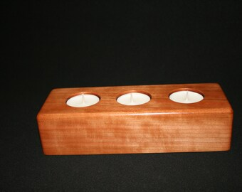 Handmade Solid Cherry Tea Light Candle Holder