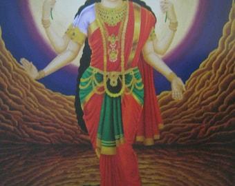 "Psychedelic Visionary Art 18x24"" Poster, Hindu Goddess Lakshmi, Similar to Alex Grey"