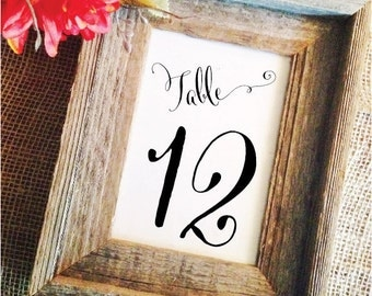Elegant Wedding Table Numbers Wedding Decor Table numbers cards Wedding Decoration Rustic Table Numbers (Frame NOT included)
