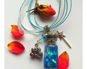 Bippity Boppity Boo! ~ Cinderella ~  Fairy Godmother's Blue Star Magic Potion, Fairy Bottle Necklace ~  Repurposed, Upcycled Miniature Glass
