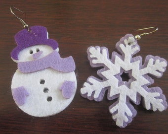Snowman and snow flake earrings on fish hook.