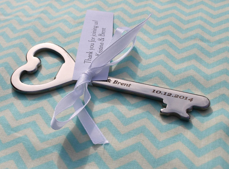 personalized key bottle opener wedding favor. Black Bedroom Furniture Sets. Home Design Ideas