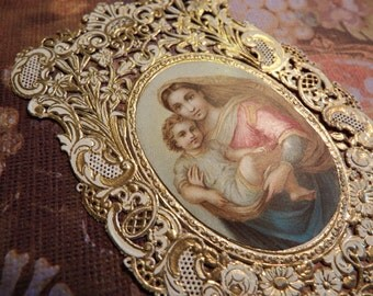 Beautiful Antique Vintage Religious Catholic Relic Featuring Virgin and Baby Jesus From Paris Market