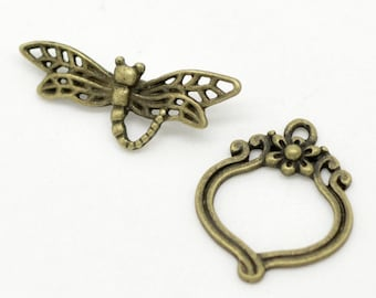 Antique Bronze/Brass Dragonfly & Flower Toggle Clasp (CLP-T-AB-1), 4 sets