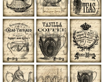 Instant download*digital sheet*old paper*scrapbooking*tags*labels*printable*coffee+tea*09