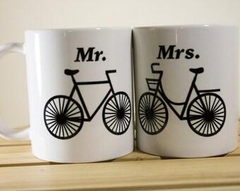 Mr. and Mrs. Bicycle Coffee Mugs