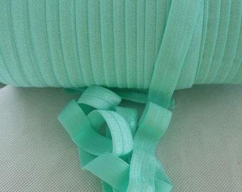 "Aqua Green Fold Over Elastic - 5 yards Fold Over Elastic - 5/8"" Aqua Green Fold Over Elastic - Elastic By The Yard - Aqua FOE"