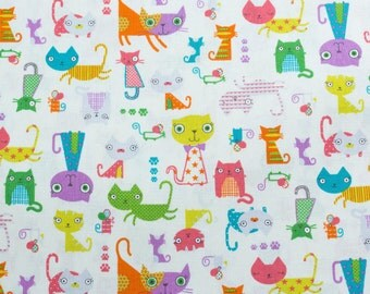 Animal party, crazy cats, white - Fat Quarter