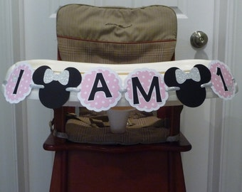 Mini Mouse Highchair Banner, I AM 1 Banner, First Birthday Banner