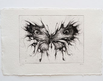 butterfly 01 - original handpulled etching - insect - black and white - rorschach - illustration