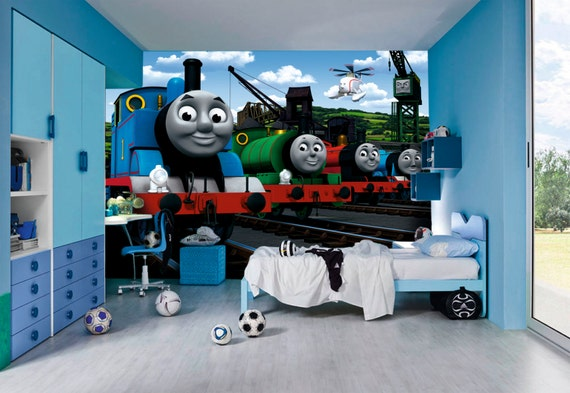 thomas the tank wall murals by inkyourwall on etsy. Black Bedroom Furniture Sets. Home Design Ideas