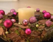 Handmade natural Christmas wreath door decoration, Purple, Xmas, Candle ring