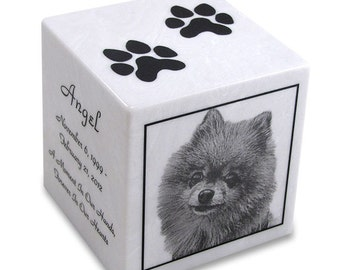 White Marble Cube Pet Cremation Urn with Engraved Photo - MKPP4-u