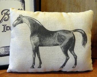 Horse Pillow Handmade Tea Dyed Feed Sack Pillow - Cupboard Tuck - Equestrian Pillow Farmhouse Decor