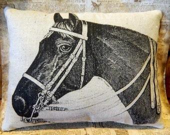 Horse Pillow Handmade - Feed Sack Pillow - Cupboard Tuck - Equestrian Pillow Farmhouse Decor