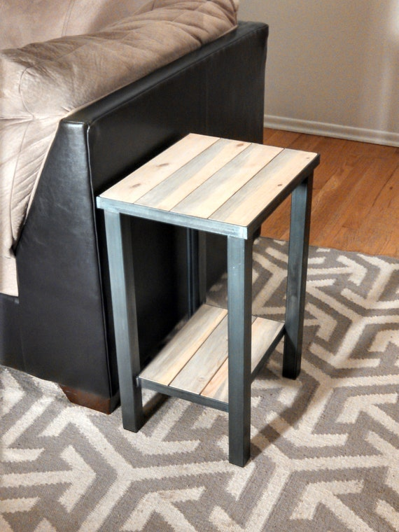 Metal Framed Industrial Style End Table Hand By