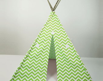 Kids Play Teepee Tent in Lime Chartreuse Green and White Chevron Zig Zag Tipi print