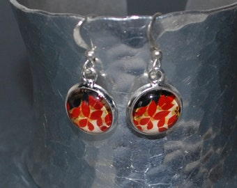Dangling earrings red autumn leaves