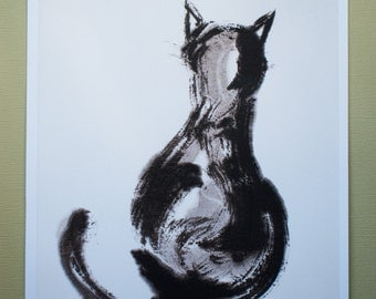 "Print: ""Cat, ignoring you"", Japanese ink drawing, Sumi-e"