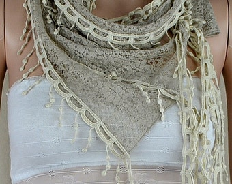 Khaki lace scarf, three-dimensional hollow out the scarf, rice white lace fringe scarf, collar
