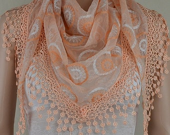 Triangle of orange bud silk scarf, three-dimensional embroidery lace fringe scarf, shawl