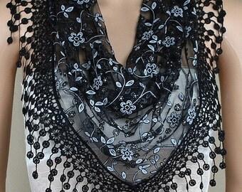 Black lace triangle scarf, plum blossom tassel lace scarf, shawl, scarf