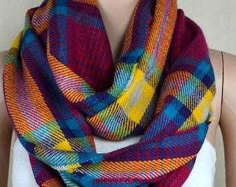 Red grid stripe scarf, thick warm scarf, infinite loop scarf, collar