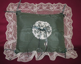 """Wedding ring pillow, forest green moire taffeta,ivory lace,satin,11""""x13"""""""