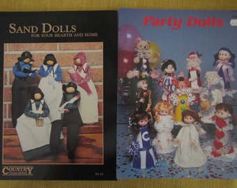 2 booklets, Sand Dolls for your hearth and home,Party dolls,made from megaphones,crafts,mantle dolls,fireplace dolls,