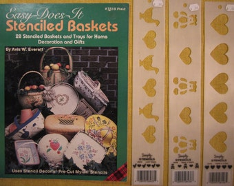 Easy Does It Stenciled Baskets,28 projects using stencils,3 stencil strips included,hearts,bears and hearts,ducks and hearts,geese