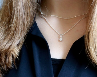 Perfect Layering Necklaces, Dainty Layer Necklace Set, Satellite Chain w/ Delicate CZ Solitaire Necklace / CZ in Solid Sterling Setting
