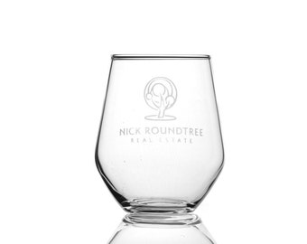 Business Logo On A Stemless Wine Glass