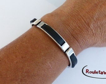 Bracelet silvery metal, leather black, 3 Silver passers-by