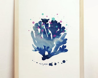 Coral Watercolor Sealife Aquatic Boat Nauticat Silhouette Art Print Blue Marine Sea Beach Ocean Aquaculture 8x10 A4 8.3 x 11.7 in - N56