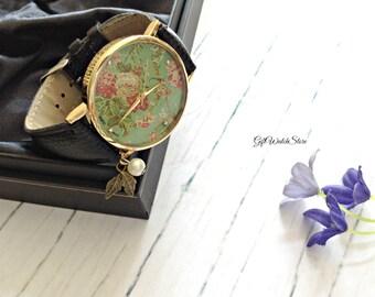 """Retro Leather Watch, Leather Wrap Watch, Leather Bracelet Watch, Wrist Watch, Flower Leather Watch, Vintage Leather Watch """"leaf"""" charm"""